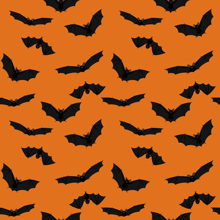 pattern wallpaper: Seamless orange halloween background with flying bats