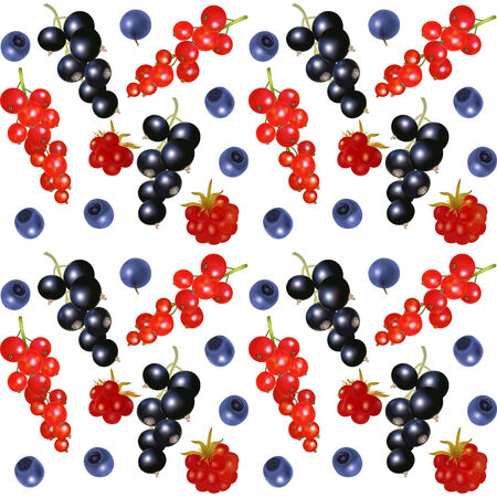 bramble: Seamless background with redcurrant, blackberry, blueberry and arctic bramble
