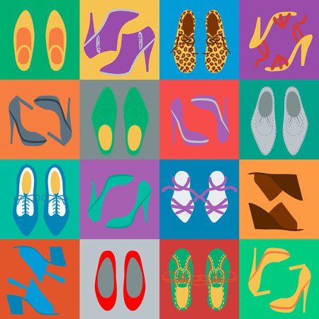 men's shoes: Different mens and womens shoes in the colorful squares