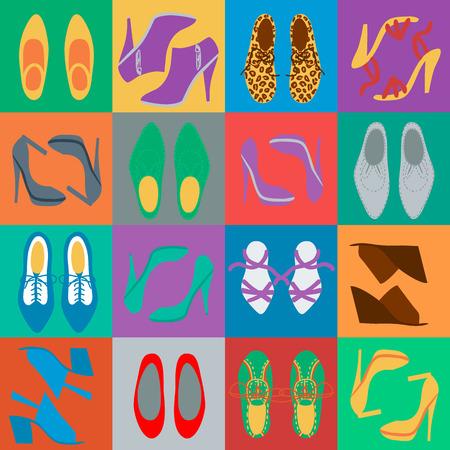 Women s shoes: Mens khác nhau và womens giày vào các ô vuông màu sắc Hình minh hoạ