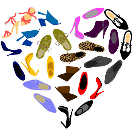 Different fashionable mens and womens shoes in shape of heart Vector