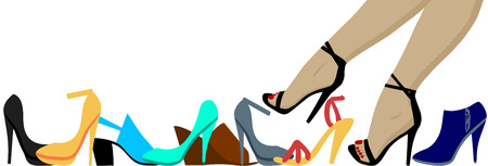 Woman legs and many high heels shoes Vector