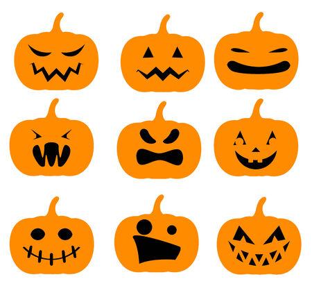 smirking: Set of simple orange Halloween pumpkins silhouettes Illustration
