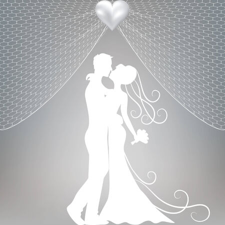 Wedding card with kissing groom and bride, curtains and pearl bow Vector