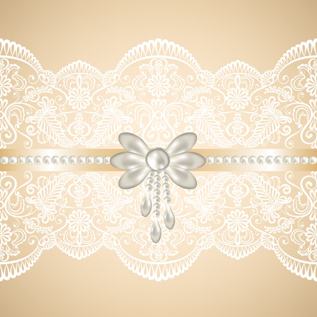 pearl necklace: Wedding, invitation or greeting card with white lace on beige background Illustration