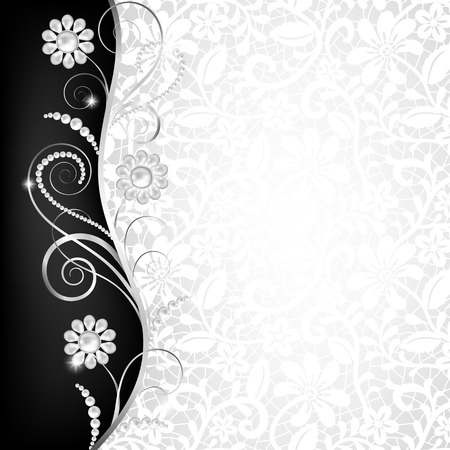 Jewelry border on white lace background. Invitation card  イラスト・ベクター素材