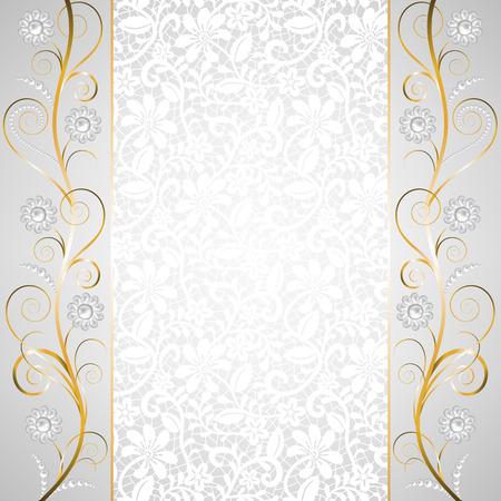 joyas de oro: Frontera joyería en el fondo de encaje blanco. Tarjeta de invitación