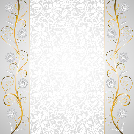 Jewelry border on white lace background. Invitation card Stock Illustratie