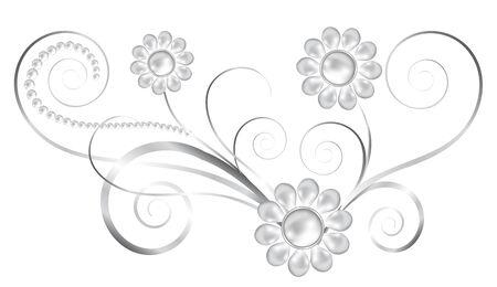 joyas de plata: Joyas elemento floral de plata con flores de perlas Vectores