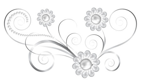 silver jewelry: Silver jewelry floral element with pearl flowers Illustration
