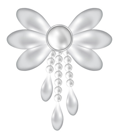 brooch: Pearl bow jewelry brooch isolated on white