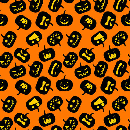 Seamless Halloween pattern with simple cute pumpkins Vector