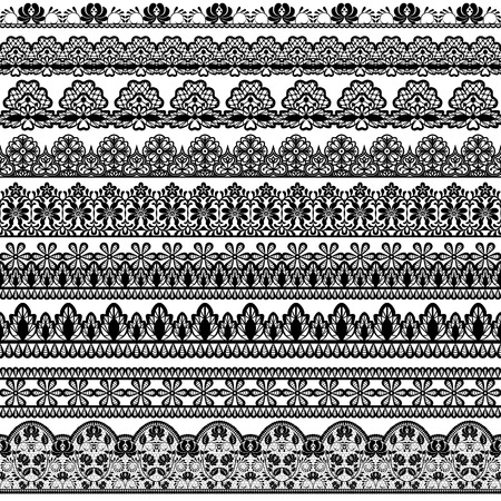 lace pattern: Set of black lace borders isolated on white