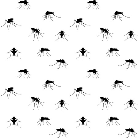 anopheles: Seamless background with biting mosquitoes Illustration