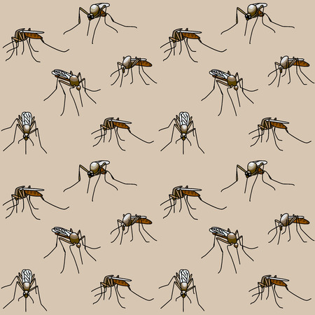 aedes: Seamless background with biting mosquitoes Illustration
