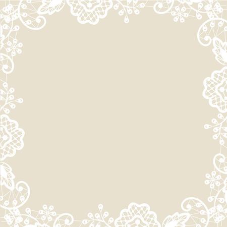 結婚式招待状またはベージュ色の背景に白いレースとグリーティング カード