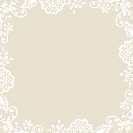 Wedding invitation or greeting card with white lace on beige background Vector