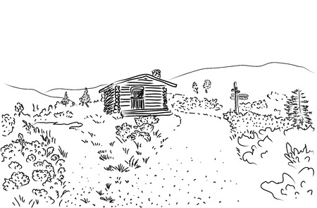 country house: Sketch of rural landscape in Lapland, Finland