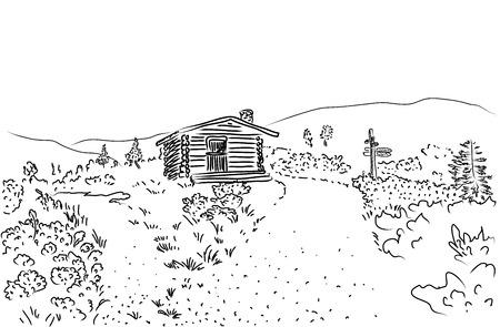 Sketch of rural landscape in Lapland, Finland