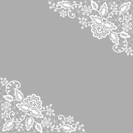 Bruiloft uitnodiging of wenskaart met wit kant op een grijze achtergrond Stock Illustratie