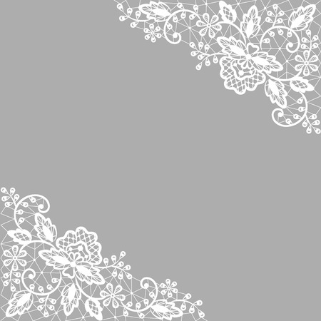 Wedding invitation or greeting card with white lace on gray background