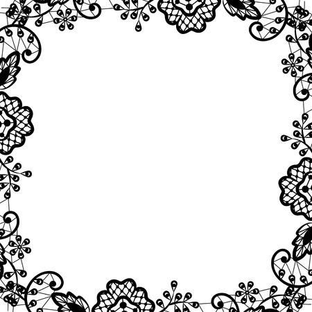 noir et blanc: invitation de mariage ou carte de voeux avec dentelle noire sur fond blanc Illustration