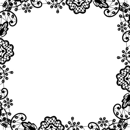 Wedding invitation or greeting card with black lace on white background
