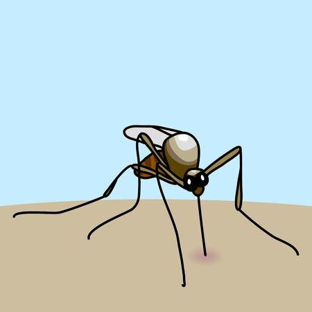 Hand drawn cartoon illustration of mosquito bite Vector