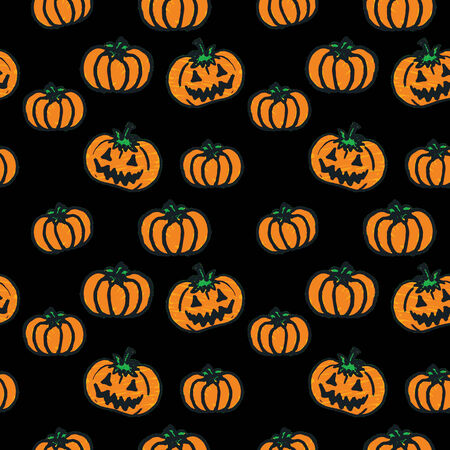 Seamless background with hand-drawn Halloween pumpkins Vector