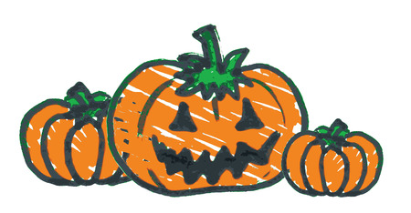 felt tip: Hand-drawn felt tip pen sketch of three Halloween pumpkins Illustration