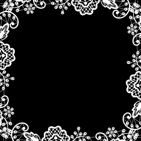 Wedding invitation or greeting card with white lace on black background Vector