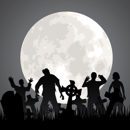 tombstone: Halloween background with zombies, tombstones and the moon on the cemetery
