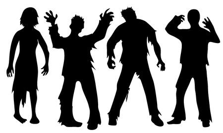 Zwarte silhouetten van zombies op wit wordt geïsoleerd