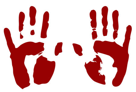 murdering: Bloody print of hands isolated on white