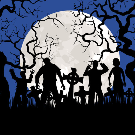 Halloween background with zombies, tombstones and the moon on the cemetery Vector