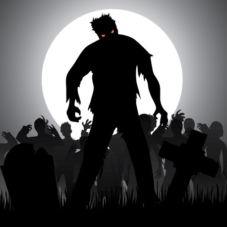 zombie: Halloween background with zombies, tombstones and the moon on the cemetery