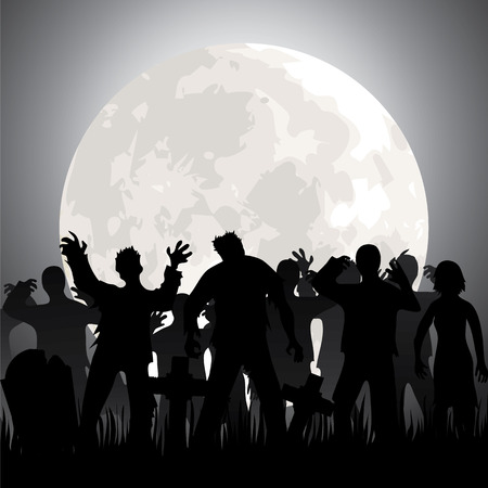 Halloween background with zombies, tombstones and the moon on the cemetery