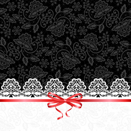 black bow: Wedding or baby shower invitation or greeting card with white lace on black background