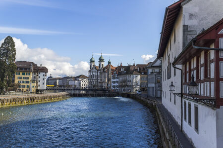 lucerne: Cityscape of Lucerne with Jesuit church,Switzerland, Reuss river