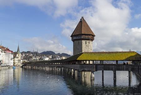 Chapel Bridge in Lucerne in winte, Switzerland photo
