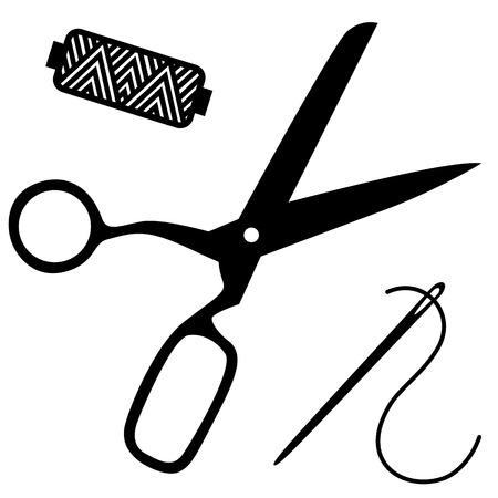 kit de costura: Siluetas negras de tijeras, carrete y la aguja