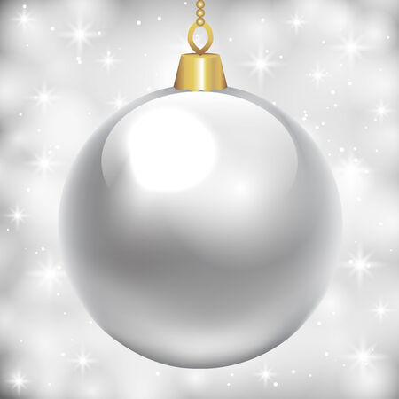 silver balls: Christmas card with silver bauble on shiny background Illustration