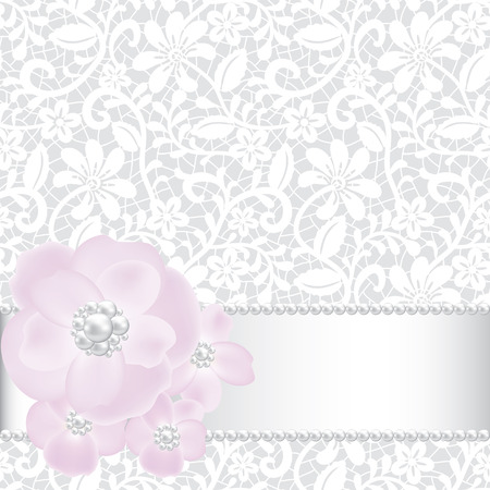 Wedding invitation template with pearls and roses Vector