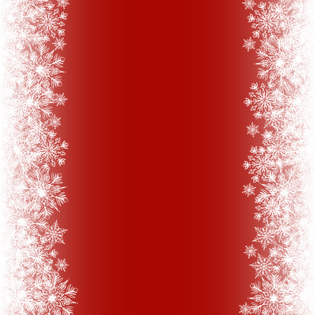 holiday border: Christmas card with snowflakes border on red background