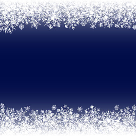 Christmas card with snowflakes border on blue background Vector