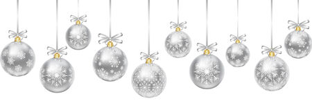 Silver hanging baubles with bows isolated on white Vector