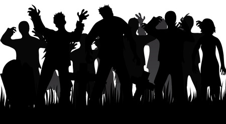 Silhouettes of zombies and tombstones isolated on white