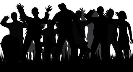 Silhouetten van zombies en grafstenen op wit wordt geïsoleerd