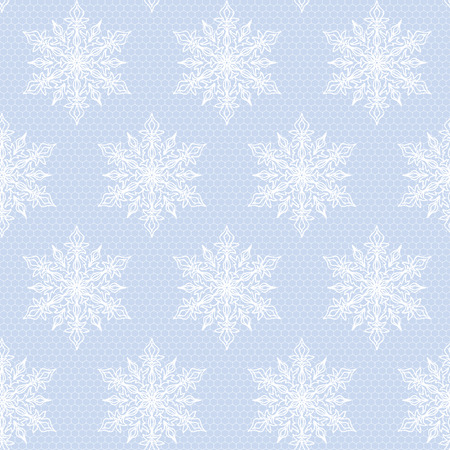 Seamless blue background with lace white snowflakes pattern Vector