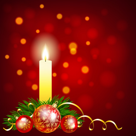 Christmas baubles and candle on red background